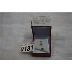10KT YELLOW GOLD 6mm GENUINE AQUAMARINE HEART PENDANT - RETAIL $150