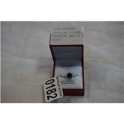 STERLING SILVER 7mm GENUINE SAPPHIRE AND CZ RING - RETAIL $500