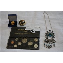 DINNER RING AND SMALL PILL BOX AND NECKLACE
