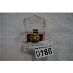 LION RING STAMPED 18K, not guranteed, has not been tested