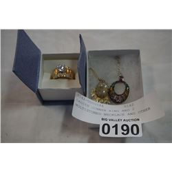 LADIES DINNER RING AND 2 MULTISTONED NECKLACE AND OTHER