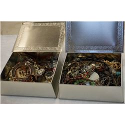2 METAL TINS W/JEWELLERY AND WATCHES