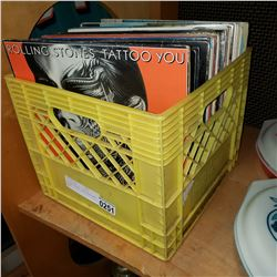 YELLOW CRATE OF RECORDS, ROLLING STONES, THE POLICE AND MORE