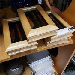5 CASED 3PC PEN SETS AND POCKET KNIFE SETS