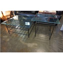 IRON COFFEE TABLE GLASS TOP AND MATCHING ENDTABLE