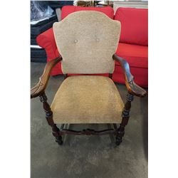 ANTIQUE PARLOUR CHAIR, HAS BEEN REUPHOLSTERED WITH BEIGE FABRIC