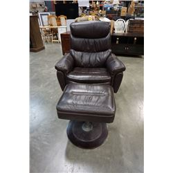 LEATHER SWIVEL RECLINER W/ GAS LIFT FLIP TOP FOOTSTOOL