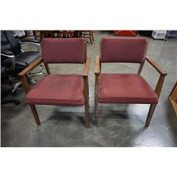 2 WOOD FRAMED MCM DINING CHAIR