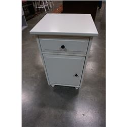WHITE 1 DRAWER NIGHTSTAND