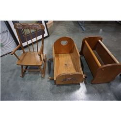 CHILDS ROCKER AND 2 DOLL ROCKERS