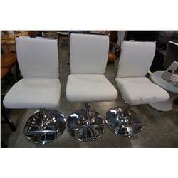 3 WHITE AND CHROME LEATHER GAS LIFT BAR STOOLS
