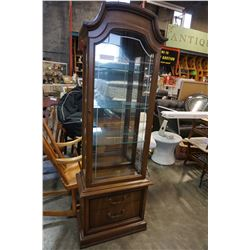 WALNUT ILLUMINATED GLASS DISPLAY CABINET BY HESPELLER FURNITURE