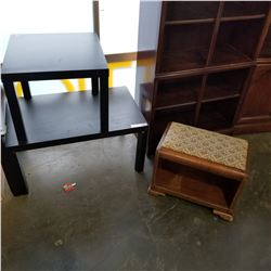 BLACK IKEA COFFEE TABLE AND END TABLE AND ANTIQUE VANITY BENCH
