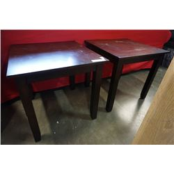 PAIR OF MODERN SQUARE END TABLES AND ANTIQUE FOOTSTOOL