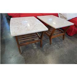 PAIR OF MID CENTURY MCM WALNUT AND MARBLE END TABLES