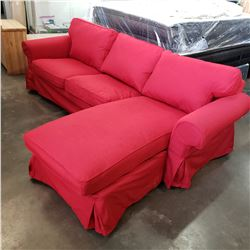 IKEA EKTORP AS NEW MODULAR SECTIONAL SOFA, WITH OPTIONAL BEIGE OR RED COVER SETS, CHAISE CAN BE MOVE