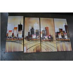 4PC CANVAS CITY ART SET