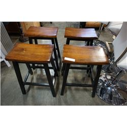 4 BLACK AND WOOD STOOLS