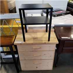 PINE 3 DRAWER CHEST OF DRAWERS AND METAL 2 TIER ENDTABLE