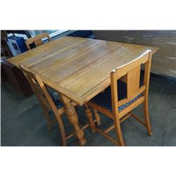 ANTIQUE DRAWLEAF DINING TABLE WITH 3 CHAIRS