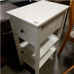 WHITE 1 DRAWER 3 TIER END TABLE