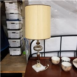 MCM WOOD, METAL, AND MABLE TABLE LAMP