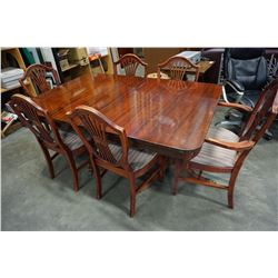 DUNCAN PHYFFE DOUBLE PEDESTAL DINING TABLE W/ JACKKNIFE LEAF AND 6 CHAIRS