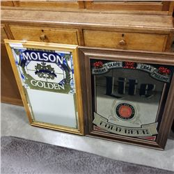 MOLSON GOLDEN AND PILSNER LIGHT MIRRORED BEER ADVERTS
