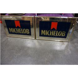 2 MICHELOB BEER MIRRORED ADVERTS