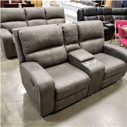 BRAND NEW PERTH RECLINING SOFA AND LOVESEAT, GREY PALOMINO FABRIC,WITH CONSOLE AND CUPHOLDERS, RETAI