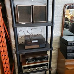 AUDIO REFLEX RECEIVER, TITAN 8 TRACK PLAYER, AND SMALL RECORD PLAYER AND SPEAKERS
