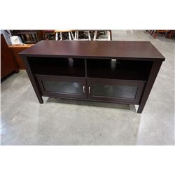 MODERN MAHOGANY FINISH ENTERTAINMENT STAND W/ GLASS DOORS