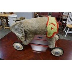 ANTIQUE RIDE ON ELEPHANT TOY