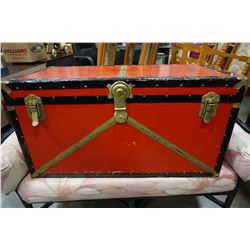 RED AND BLACK STEAMER TRUNK