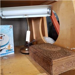 VINTAGE DESK LAMP AND CARVED WOODEN DRESSER BOX