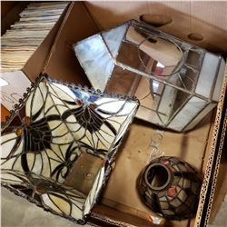 BOX OF LEADED GLASS SHADES AND CASE