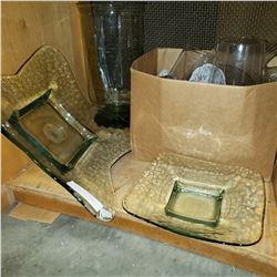 2 DECORATIVE CENTER PIECES W/ LARGE VASE AND BOX OF GLASS CANDLE HOLDERS