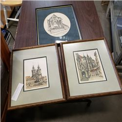 2 FRAMED PRINTS AND ETCHING