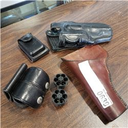 2 REVOLVER HOLSTERS AND SPEED LOADERS
