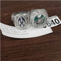 2 NEW REPRO SUPERBOWL RINGS DALLAS COWBOYS AND PHILADELPHIA EAGLES