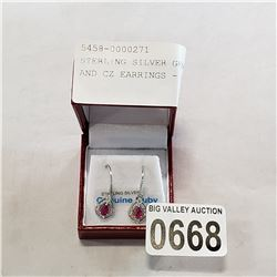 STERLING SILVER GENUINE RUBY AND CZ EARRINGS - RETAIL $300