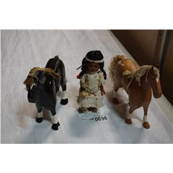FIRST NATIONS DOLL AND 2 FOLK ART HORSES W/ LEATHER EARS