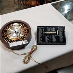 VINTAGE ELECTRIC WALL CLOCK AND VINTAGE BAR GUIDE