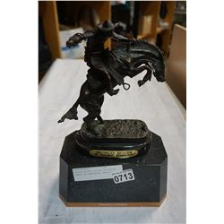 BRONZE BRONCO BUSTER PROJECT COWBOY BY REMINGTON STATUE