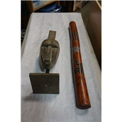RAIN STICKS AND CARVED MASK ON STAND