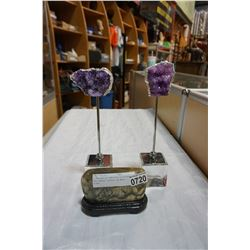 2 DECORATIVE AMETHYST CLUSTERS AND QUARTZ CRYSTAL ON WOOD STAND
