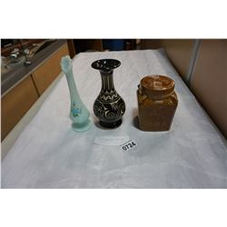 2 SIGNED VASES AND LIDDED JAR