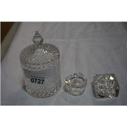 3 CRYSTAL LITTLE DISHES