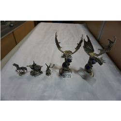 PEWTER DRAGON CANDLE STICKS AND FANTASY FIGURES
