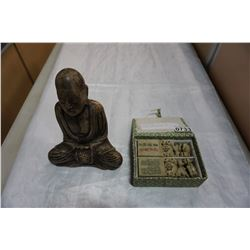 VINTAGE CARVED BUDDAH AND CARVED STONE FOO DOGS